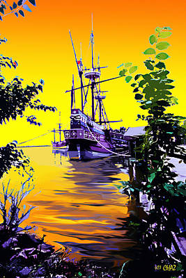 Tall Ships. Pirates Ships Painting - Pirate Ship At Sunrise by CHAZ Daugherty