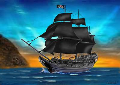 Pirate Ship At Sunset Art Print