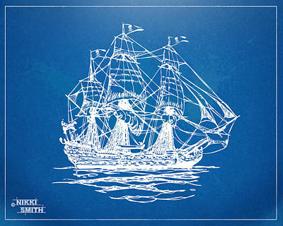 Pirate Ship Digital Art - Pirate Ship Blueprint Artwork by Nikki Marie Smith