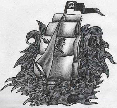 Waving Flag Drawing - Pirate Ship Bw by Melissa Sink