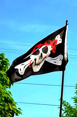 Pirate Ship Flag Of The Skull And Crossbones Art Print by Lanjee Chee