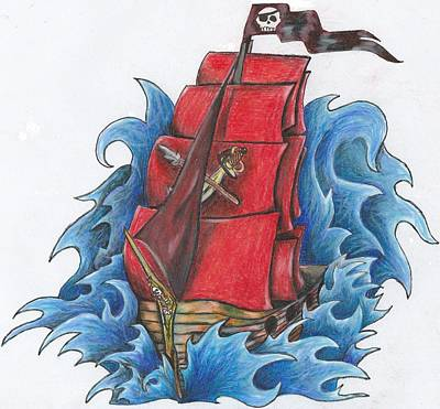 Waving Flag Drawing - Pirate Ship by Melissa Sink