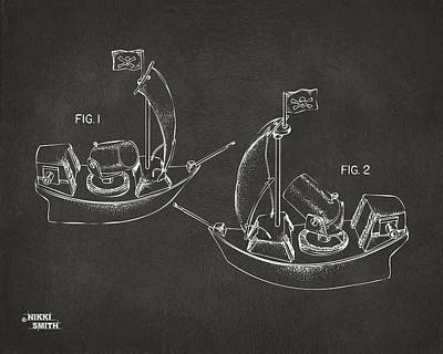 Pirate Ship Patent Artwork - Gray Art Print by Nikki Marie Smith