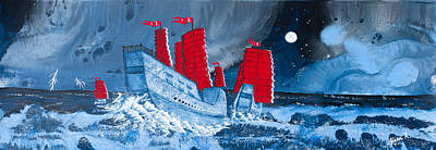 Pirate Ships In A Storm In The  South China Sea Art Print by Glenn  Russell