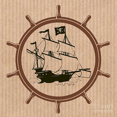 Digital Art - Pirate Ships Wheel by Mindy Bench