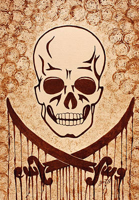 Pirate Skull And Crossed Swords Symbol Coffee Painting Original