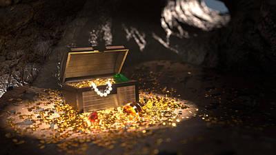 Treasure Box Digital Art - Pirate Treasure by Shachar Har-Shuv
