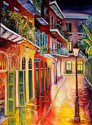 Night Lamp Painting - Pirates Alley By Night by Diane Millsap