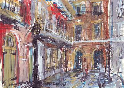 Mardi Gras Drawing - Pirate's Alley by Edward Ching