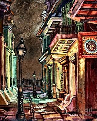 Night Lamp Painting - Pirate's Alley Evening by Lisa Tygier Diamond