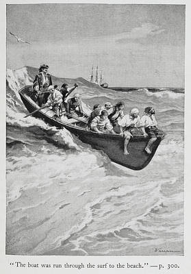 Pirates And Their Captain In A Boat Art Print