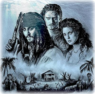Orlando Bloom Drawing - Pirates by Andrew Read