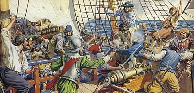 Pirates Attacking A Spanish Galleon Colour Litho Art Print