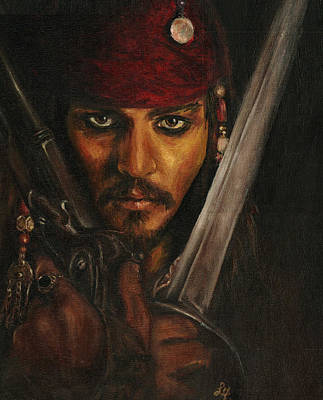 Orlando Bloom Drawing - Pirates- Captain Jack Sparrow by Lina Zolotushko