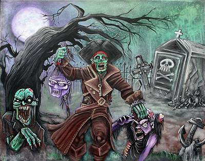 Zombie Painting - Pirate's Graveyard 2 by Laura Barbosa