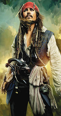 Movie Art Mixed Media - Pirates Of The Caribbean Johnny Depp Artwork 1 by Sheraz A