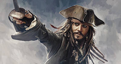 Movies Painting - Pirates Of The Caribbean Johnny Depp Artwork 2 by Sheraz A