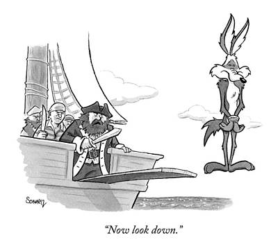Cartoons Drawing - Pirates Speak To Wile E. Coyote by Benjamin Schwartz