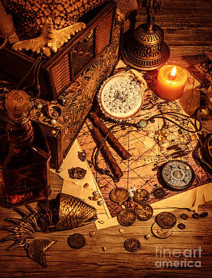 Paper Beads Photograph - Pirates Treasure Still Life by Anna Om