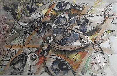 Pisces Drawing - Pisces by Aleksandra Chebysheva