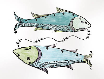 Pisces An Illustration Art Print by Italian School