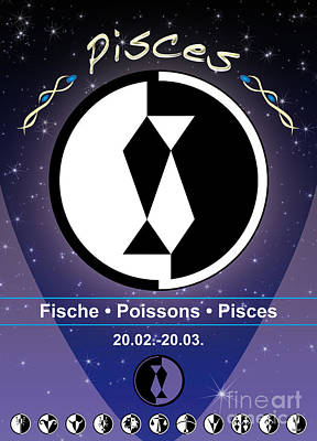 Signs Of The Zodiac Digital Art - Pisces by Fabian Roessler