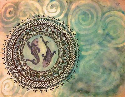 Zodiac Painting - Pisces Mandala by Jennie Hallbrown