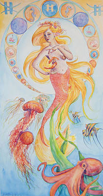 Angel Mermaids Ocean Painting - Pisces by Sarah Job