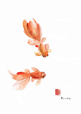 Goldfish Painting - Pisces Zodiac Fishes Orange Red  Pink Fish Water Goldfish Watercolor Painting by Johana Szmerdt