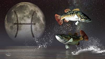 Pisces Zodiac Symbol Print by Daniel Eskridge