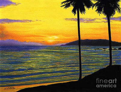 Colored Pencil Painting - Pismo Beach California Sunset by Sarah Batalka
