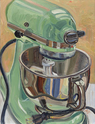 Stainless Steel Painting - Pistachio Retro Designed Chrome Flour Mixer by Jennie Traill Schaeffer