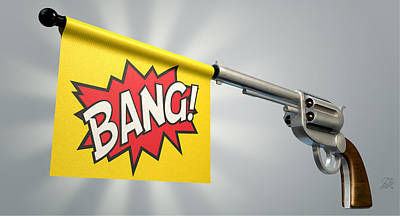Pistol Bang Flag Art Print by Allan Swart