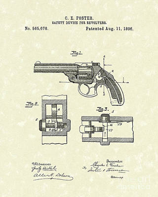 Drawing - Pistol Device 1896 Patent Art by Prior Art Design