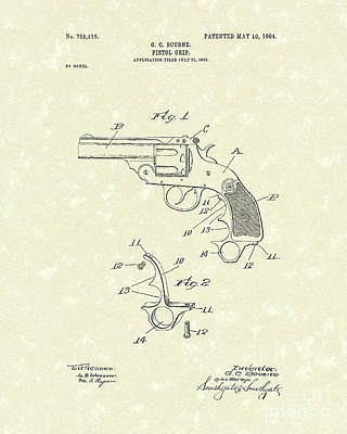 Drawing - Pistol Grip 1904 Patent Art by Prior Art Design