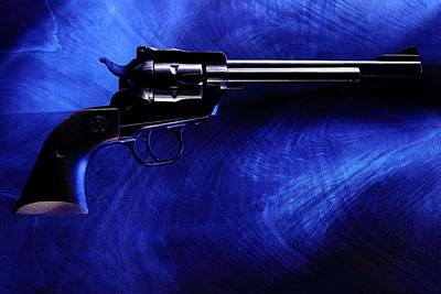 Photograph - Pistol On Blue by David Andersen