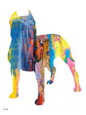 Staffordshire Bull Terrier Painting - Pit Bull 4 by Luke and Slavi