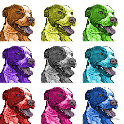 Mixed Media - Pit Bull Fractal Pop Art - 7773 - F - Wb - M by James Ahn