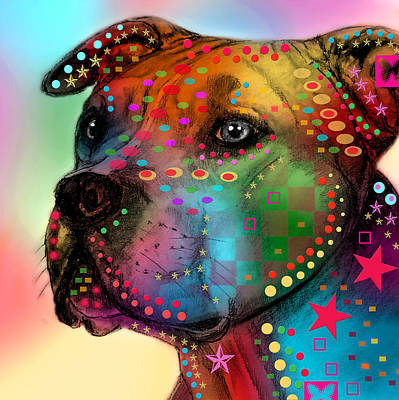 Puppies Painting - Pit Bull by Mark Ashkenazi