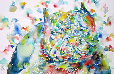 Pitbull Painting - Pit Bull - Watercolor Portrait by Fabrizio Cassetta