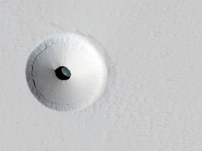 Pit On A Martian Volcano Art Print by Jpl/university Of Arizona /nasa