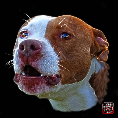 Mixed Media - Pitbull 7769 - Bb - Fractal Dog Art by James Ahn