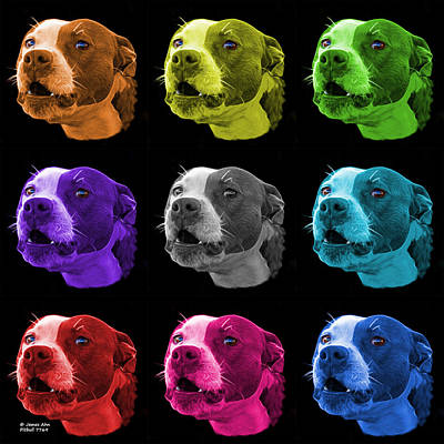 Mixed Media - Pitbull 7769 - Bb - M - Fractal Dog Art - Mosaic Art by James Ahn