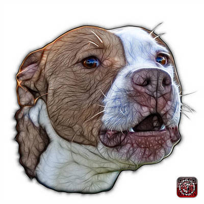 Mixed Media - Pitbull Dog Art - 7769 - Wb - Fractal Dog Art by James Ahn