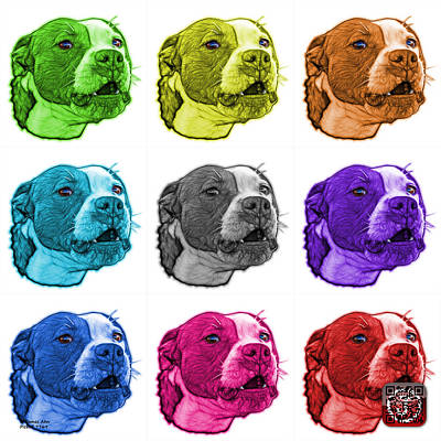 Mixed Media - Pitbull Dog Art - 7769 - Wb - M - Fractal Dog Art - Mosaic Art by James Ahn