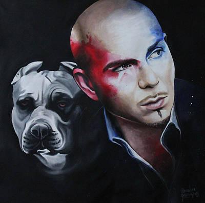Pitbull Portrait Art Print by Alessandra Pagliuca