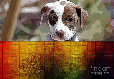 Pitbull Mixed Media - Pitbull Puppy by Marvin Blaine
