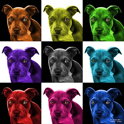 Photograph - Pitbull Puppy Pop Art - 7085 V1 - M by James Ahn