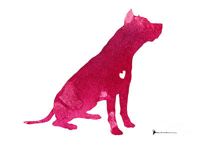 Pitbull Silhouette Watercolor Art Print Painting Art Print by Joanna Szmerdt