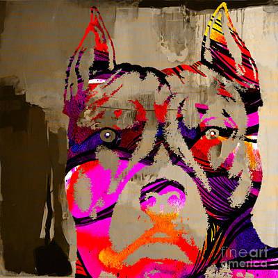Bull Terrier Mixed Media - Pitbull Strength by Marvin Blaine